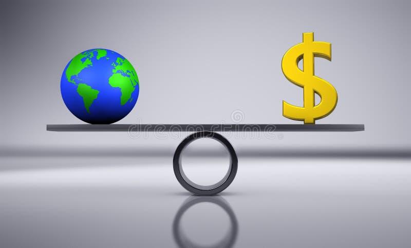 Ambiente da economia e equilíbrio verdes do dinheiro ilustração do vetor