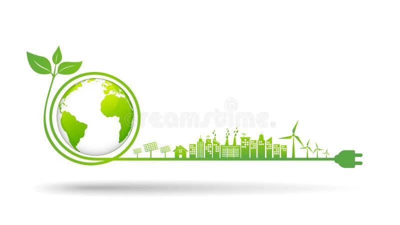 Ambiente di mondo e concetto di sviluppo sostenibile, illustrazione di vettore illustrazione di stock