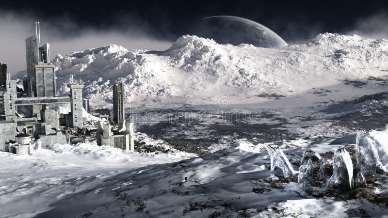 Ambiente distante del pianeta del ghiaccio illustrazione vettoriale