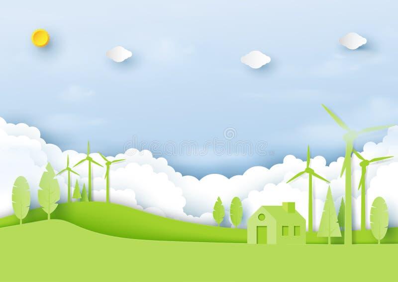 Ambiente do eco verde e chiqueiro amigáveis da arte do papel de conceito da ecologia ilustração stock