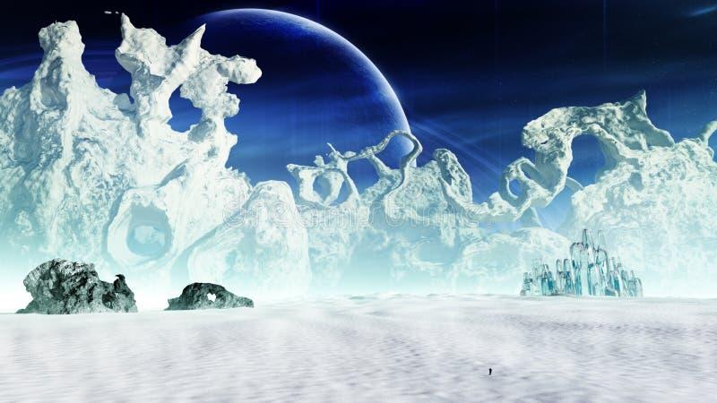 Ambiente do planeta do gelo da fantasia ilustração stock
