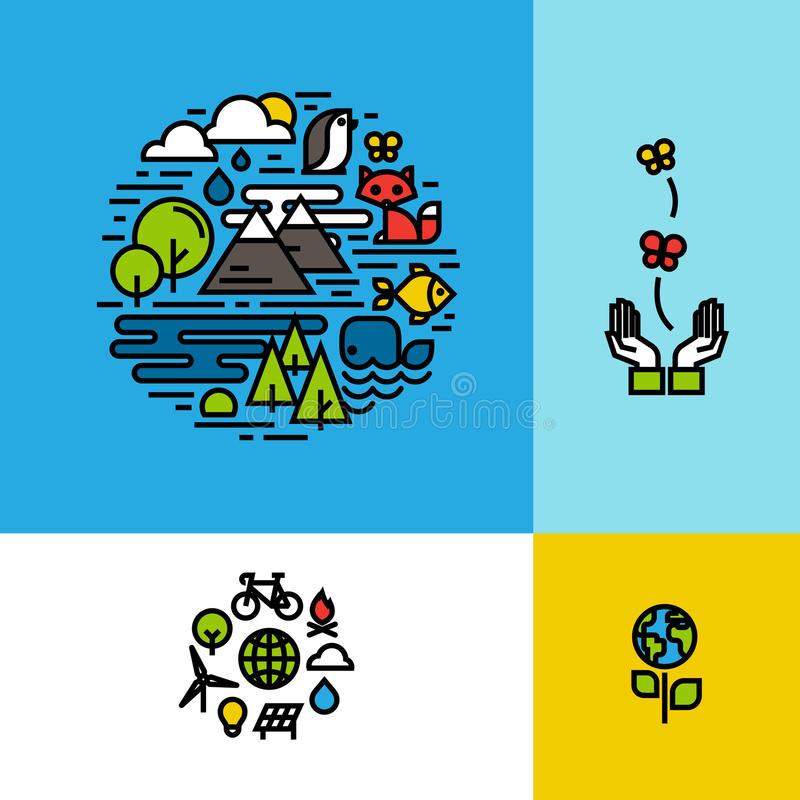 Ambiente, ecologia, concetti variopinti del pianeta verde fissati illustrazione vettoriale