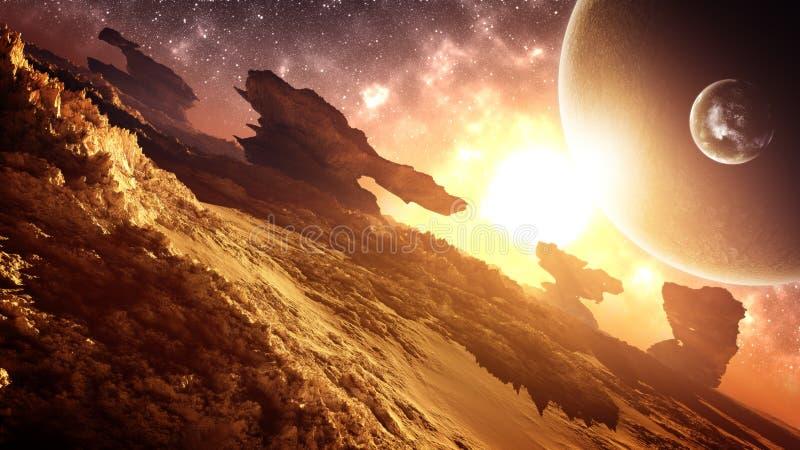 Ambiente extranjero glorioso épico de la puesta del sol del planeta stock de ilustración