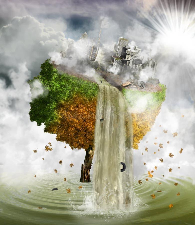 Ambiente humano de la contaminación, concepto ilustración del vector