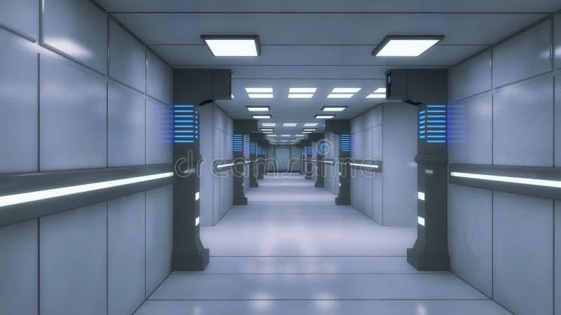 Ambiente interior futurista ilustração royalty free