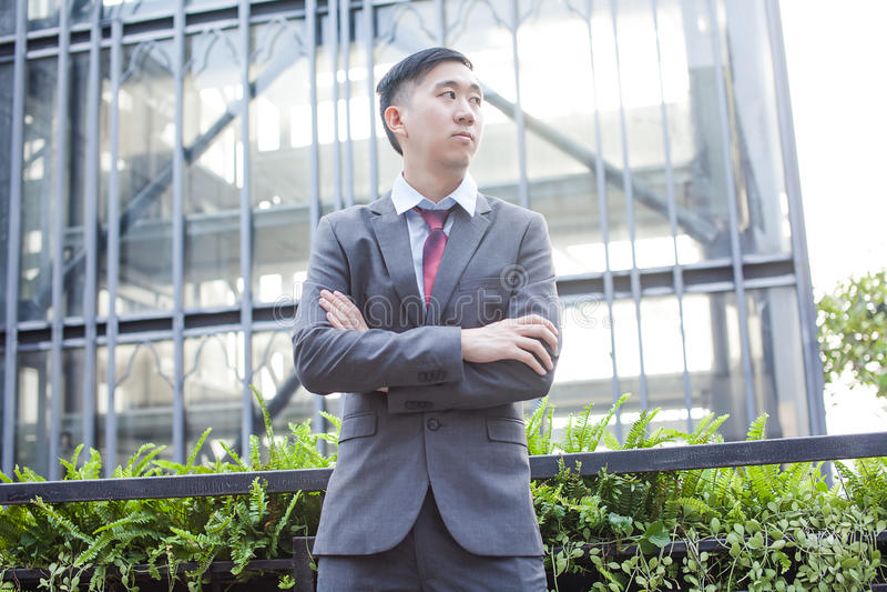 Ambitiös asiatisk affär Person Standing royaltyfri bild