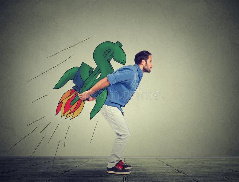 Ambitiös ung man med höga riskabla finansiella mål arkivfoto