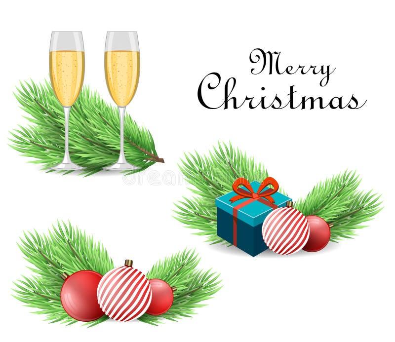 Ambiti di provenienza anno felice di nuovo e di Buon Natale Ramo ed accessori realistici dell'albero di Natale illustrazione vettoriale