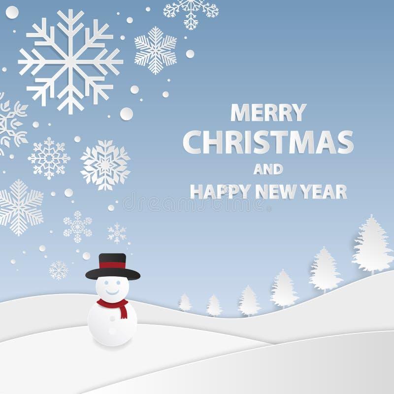 Ambiti di provenienza anno felice di nuovo e di Buon Natale Pupazzo di neve con lo sno illustrazione di stock