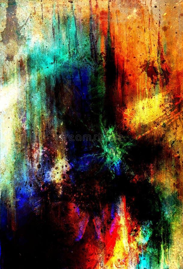 Ambiti di provenienza astratti di colore, collage di verniciatura con i punti, struttura della ruggine illustrazione vettoriale