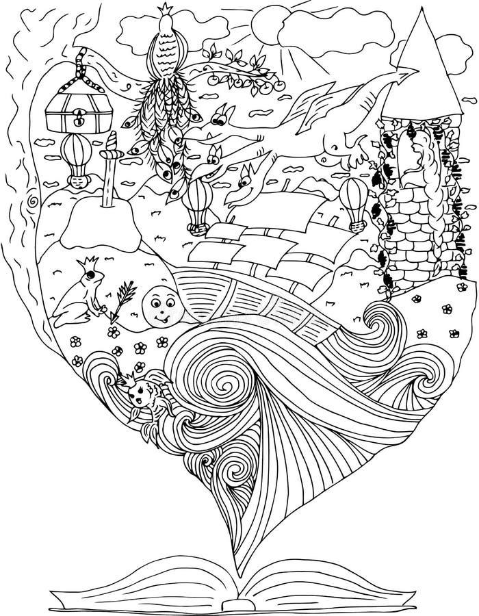 Ambiti di provenienza astratti di fantasia con il libro magico viaggio in mondo delle favole draghi rapunzel Nave in oceano Illus illustrazione di stock