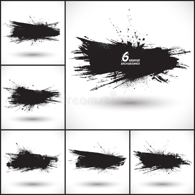 6 ambiti di provenienza astratti di lerciume di vettore illustrazione di stock