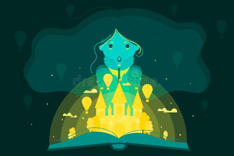 Ambiti di provenienza astratti di fantasia con il libro magico royalty illustrazione gratis
