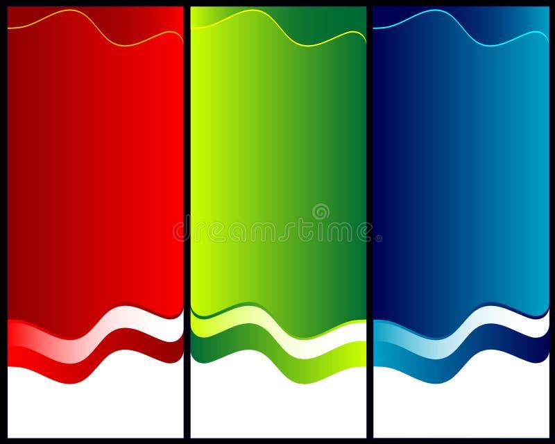Ambiti di provenienza astratti verdi e blu di colore rosso, illustrazione vettoriale