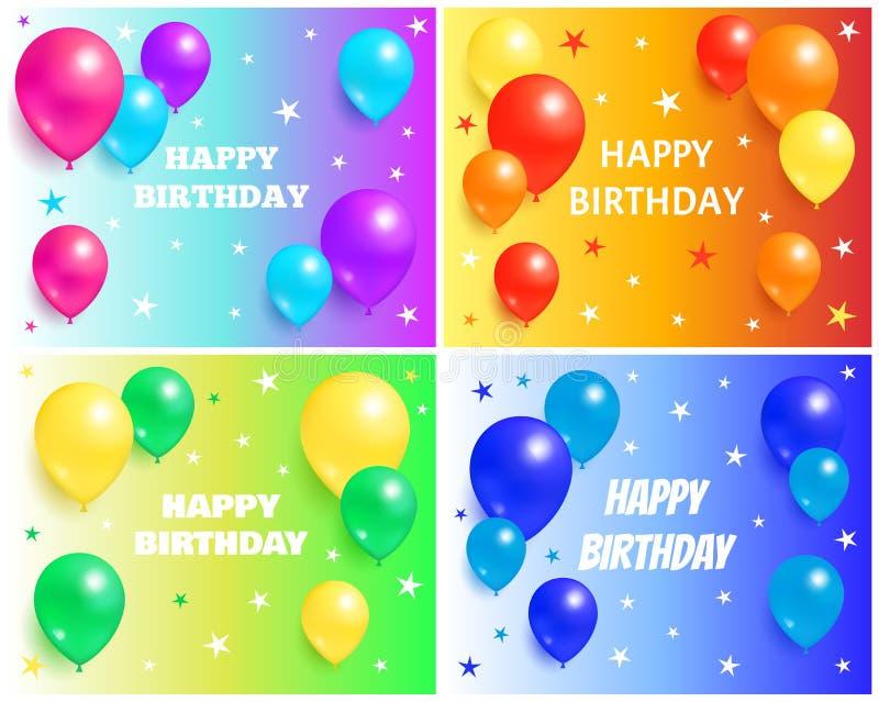 Ambiti di provenienza di buon compleanno con i palloni lucidi royalty illustrazione gratis