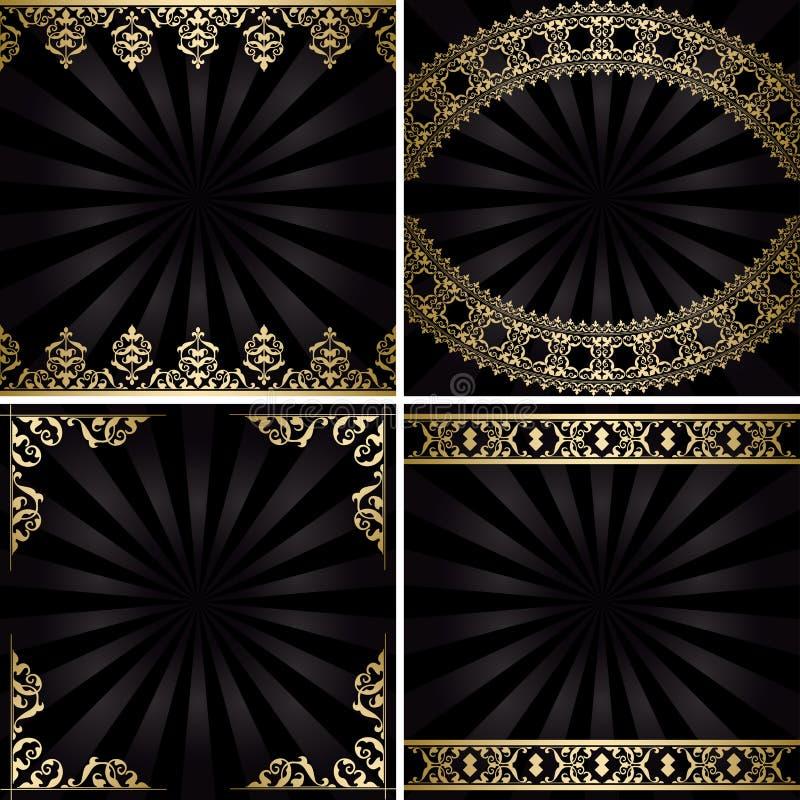 Ambiti di provenienza con le decorazioni dell'oro ed i raggi - annata nera royalty illustrazione gratis
