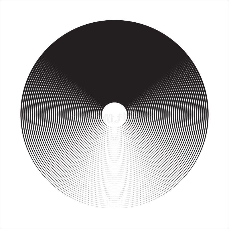 Ambiti di provenienza degli elementi del cerchio concentrico Reticolo astratto del cerchio Grafici in bianco e nero royalty illustrazione gratis