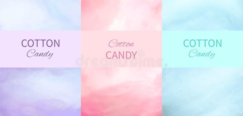 Ambiti di provenienza dello zucchero filato nella porpora, nel rosa ed in blu illustrazione vettoriale