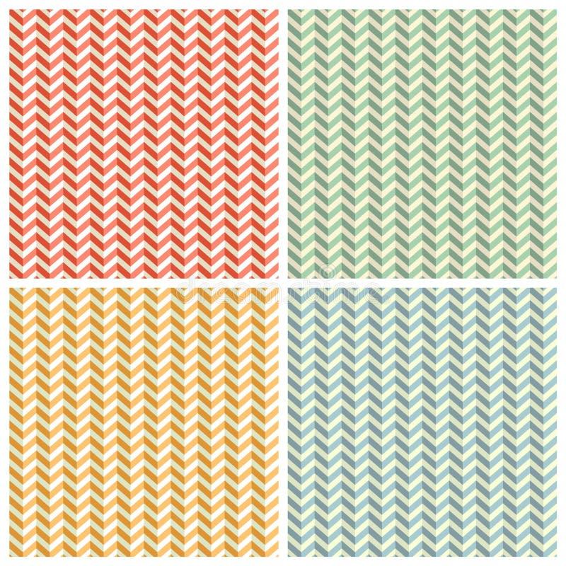Ambiti di provenienza dentati dei modelli della carta di Zig Zag messi illustrazione di stock