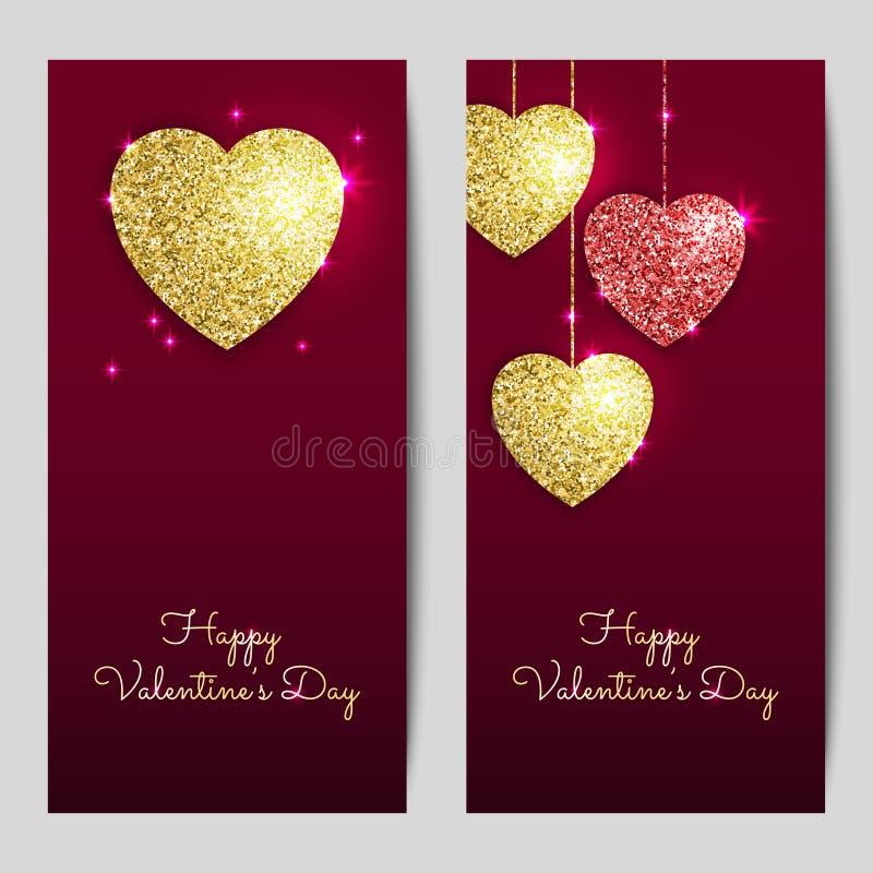 Ambiti di provenienza di giorno di biglietti di S. Valentino con oro e cuori rossi illustrazione di stock