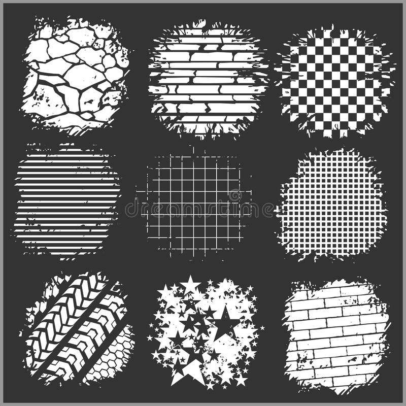 Ambiti di provenienza di lerciume - mattoni, piste della gomma e illustrazione di stock