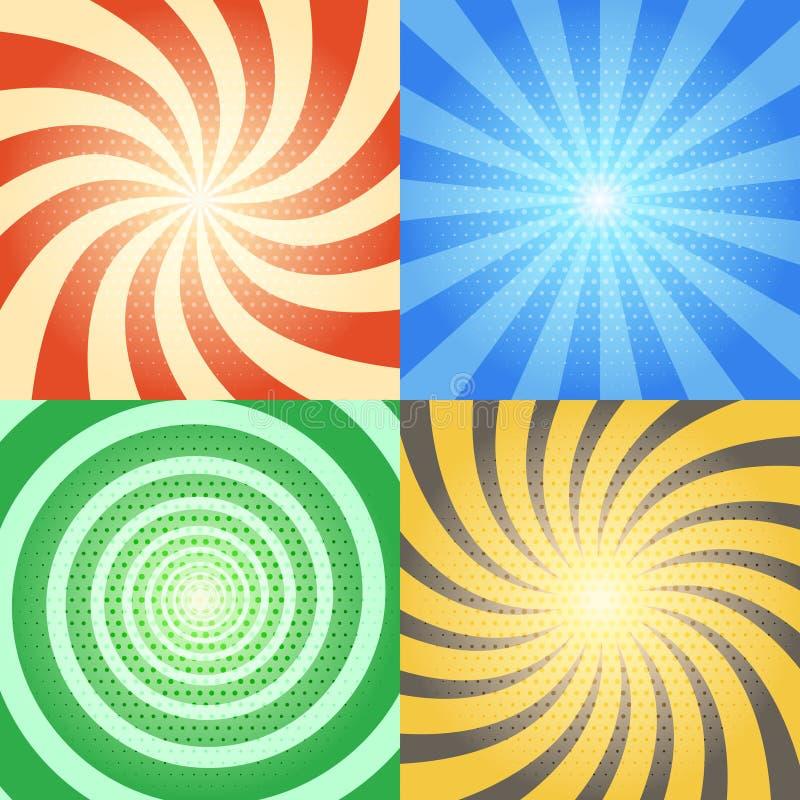 Ambiti di provenienza di vettore del libro di fumetti messi Retro sprazzo di sole ed effetti a spirale con il modello di semitono illustrazione vettoriale