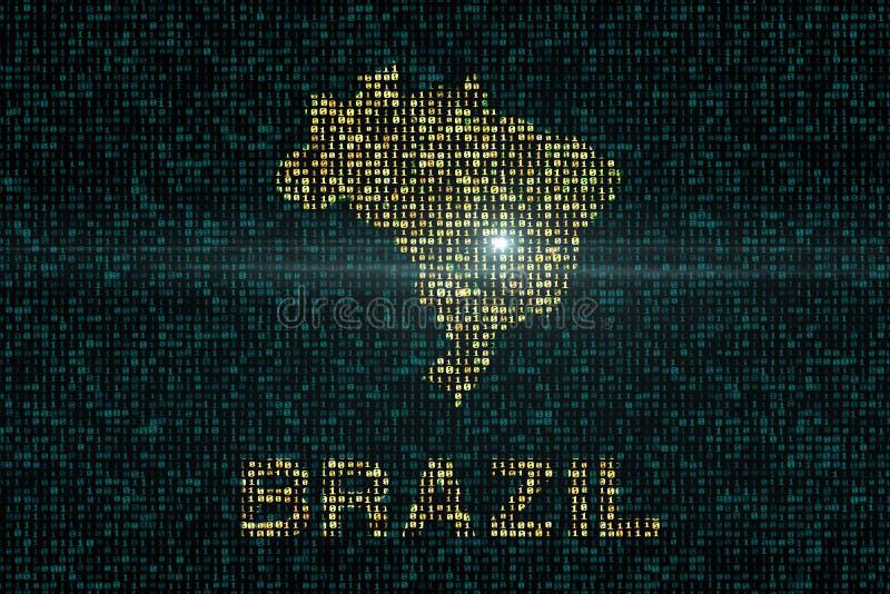 Ambiti di provenienza di Digital con il paese della mappa del Brasile royalty illustrazione gratis