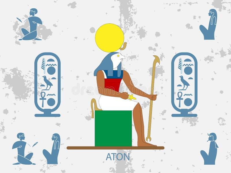 Ambiti di provenienza di egitto antico Dio di Sun - Aton Sun Dio dell'egitto antico royalty illustrazione gratis