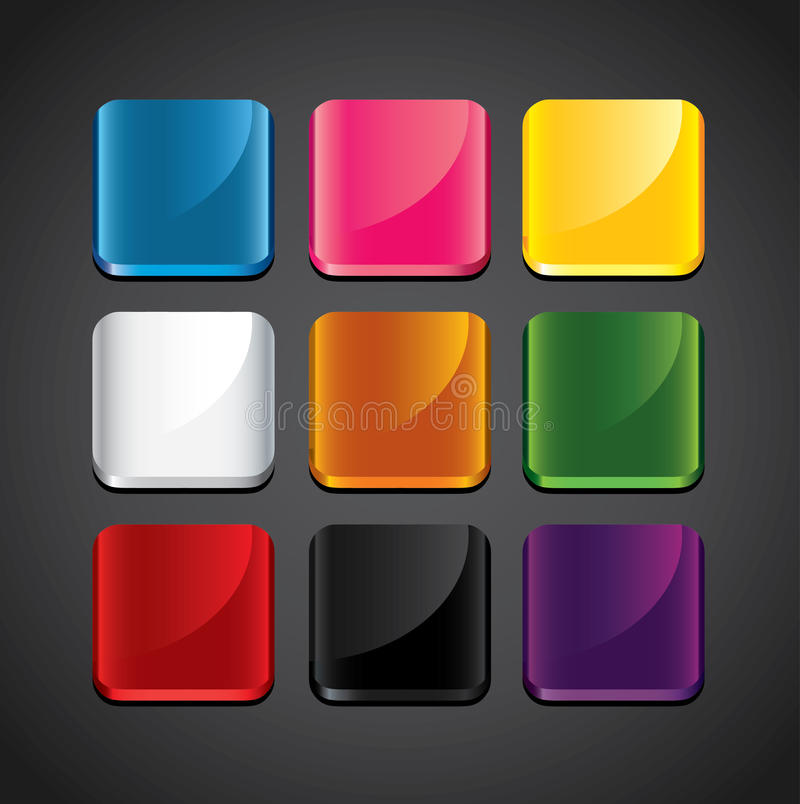 Ambiti di provenienza lucidi variopinti per le icone di app illustrazione vettoriale