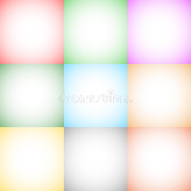9 ambiti di provenienza quadrati monocromatici/backdro di formato di pendenza radiale illustrazione vettoriale