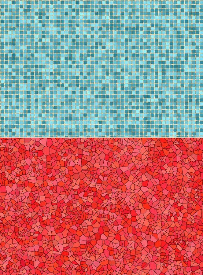 Ambiti di provenienza rossi e blu delle mattonelle illustrazione vettoriale