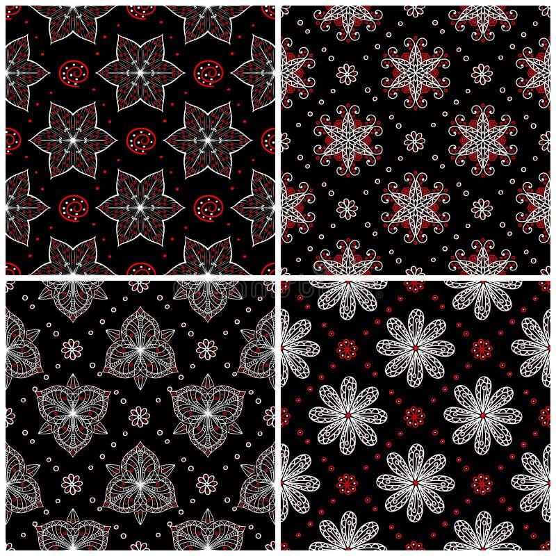 Ambiti di provenienza senza giunte Insiemi classici bianchi e rossi neri con i modelli floreali illustrazione di stock