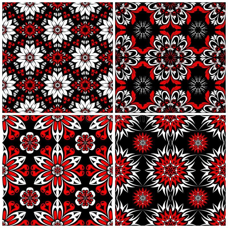 Ambiti di provenienza senza giunte Insiemi classici bianchi e rossi neri con i modelli floreali illustrazione vettoriale