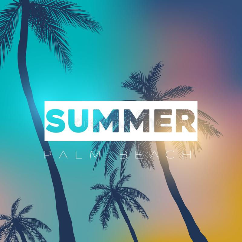 Ambiti di provenienza tropicali di estate con le palme, il cielo ed il tramonto Carta dell'invito dell'aletta di filatoio del man illustrazione vettoriale