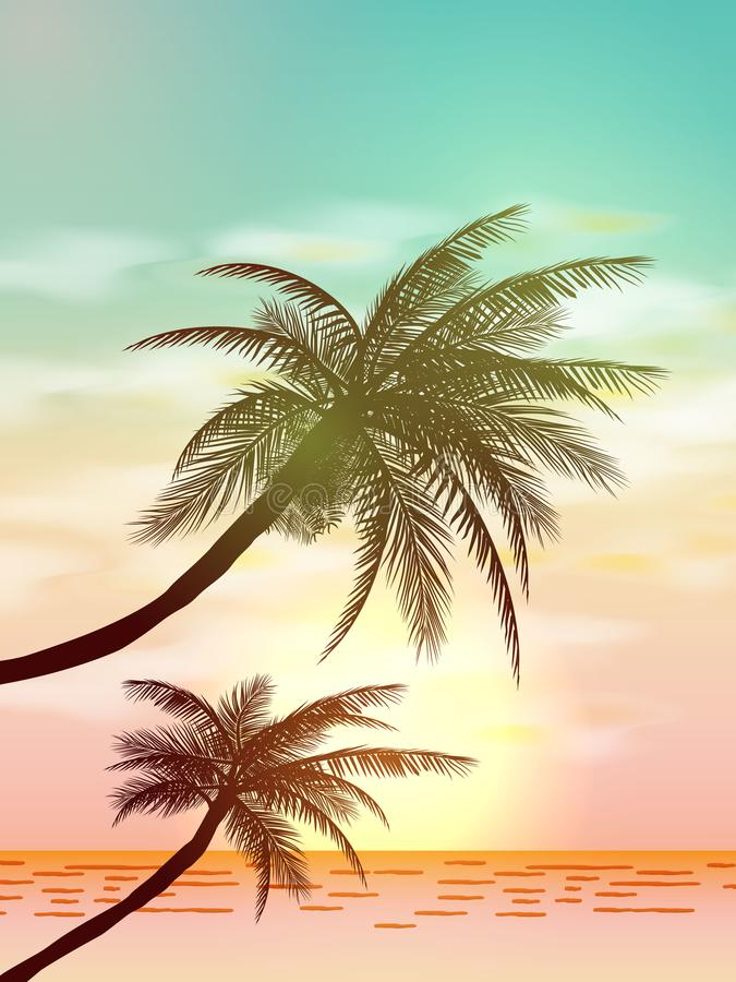Ambiti di provenienza tropicali di estate con le palme, il cielo ed il tramonto Carta dell'invito dell'aletta di filatoio del man royalty illustrazione gratis