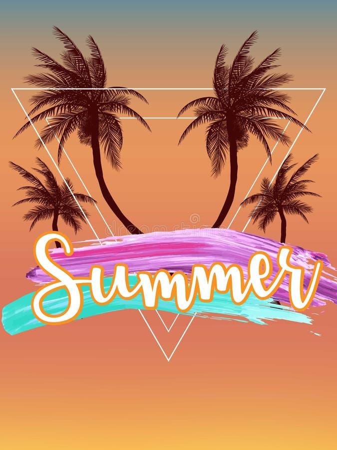 Ambiti di provenienza tropicali di estate con le palme, il cielo ed il tramonto Carta dell'invito dell'aletta di filatoio del man illustrazione di stock