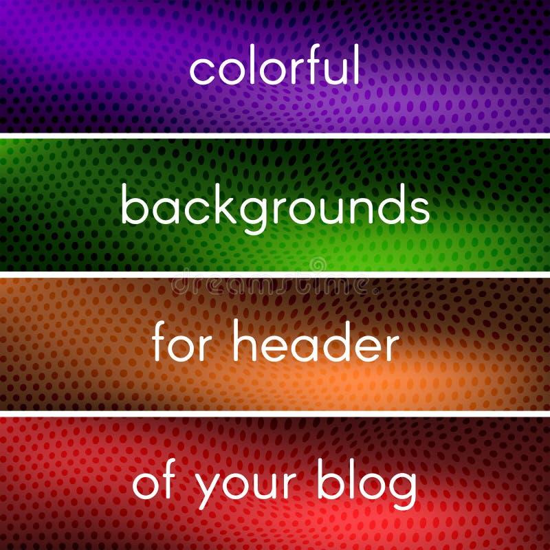 Ambiti di provenienza variopinti per l'intestazione del vostro blog fotografia stock