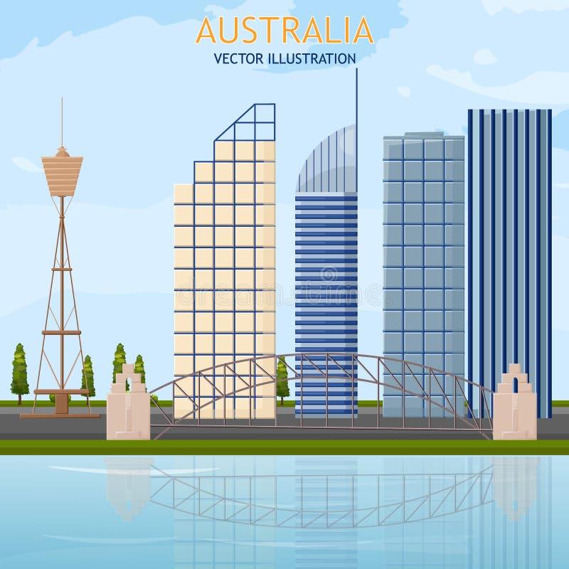 Ambiti di provenienza di vettore di vista dei grattacieli di paesaggio urbano di architettura dell'Australia illustrazione vettoriale
