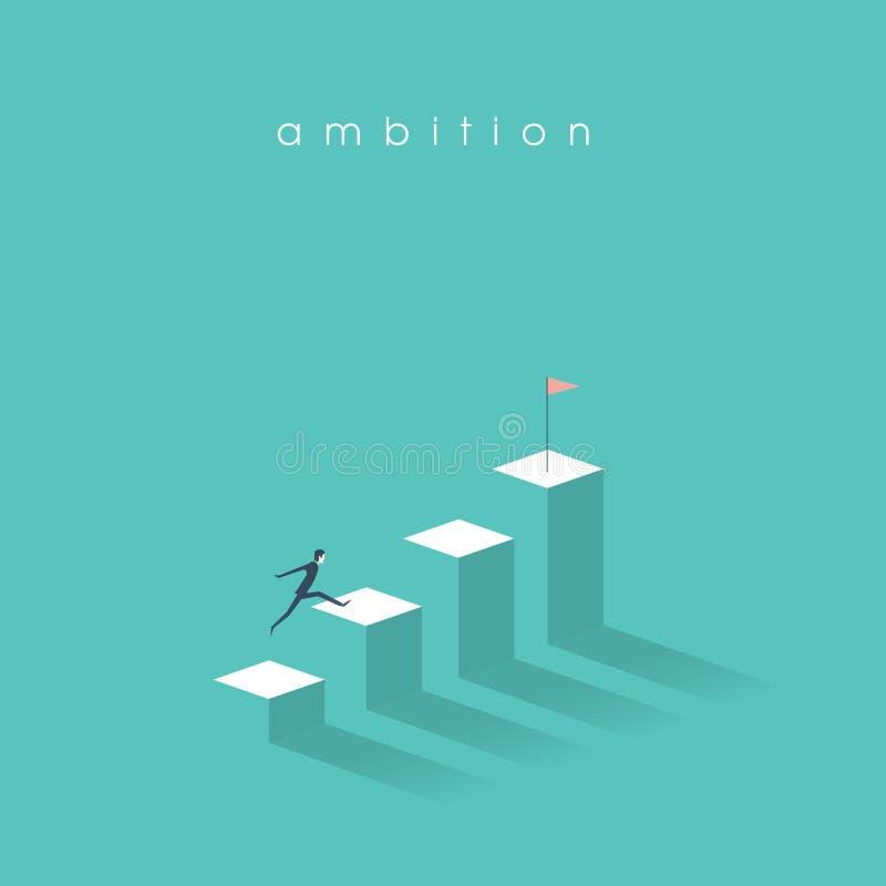 Ambitie vectorconcept met zakenmansprong op grafiekkolommen Succes, voltooiing, motivatie bedrijfssymbool royalty-vrije illustratie