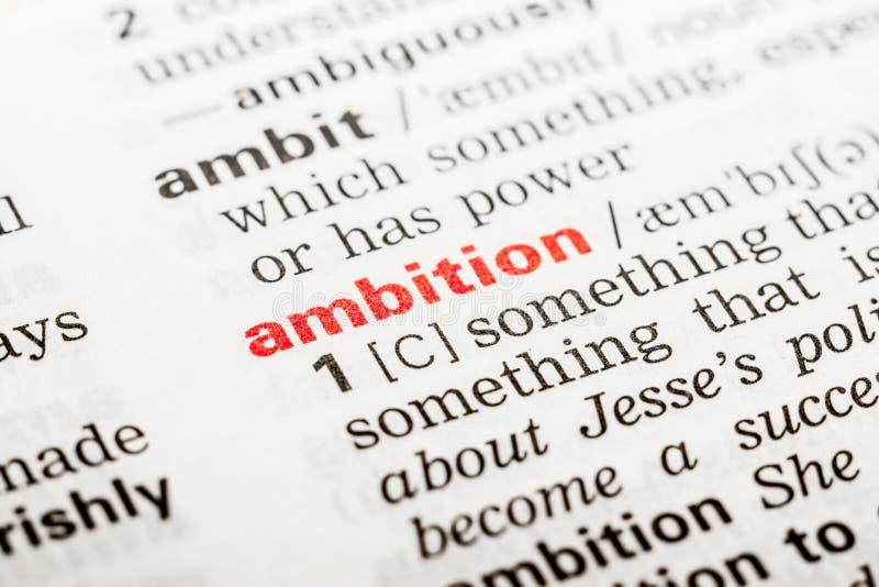 Ambitieword Definitie stock fotografie