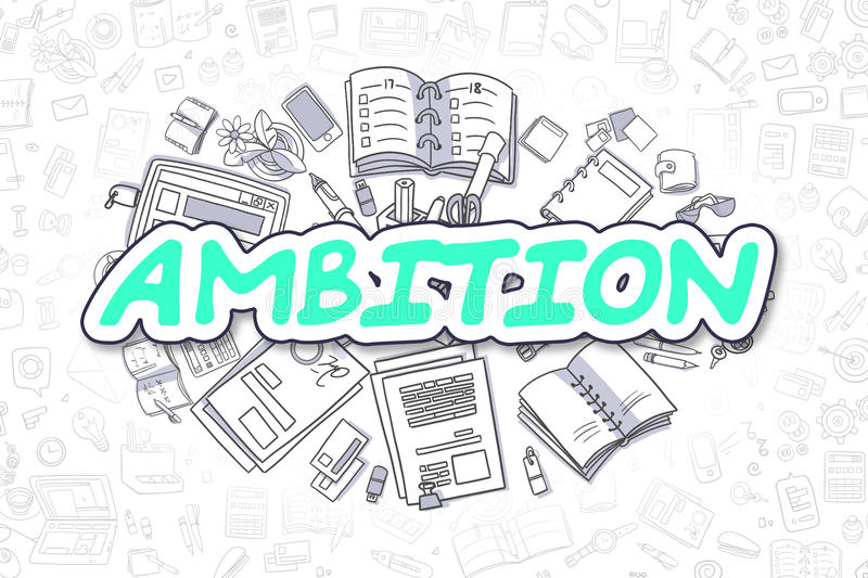 Ambition - Cartoon Green Word. Business Concept. vector illustration