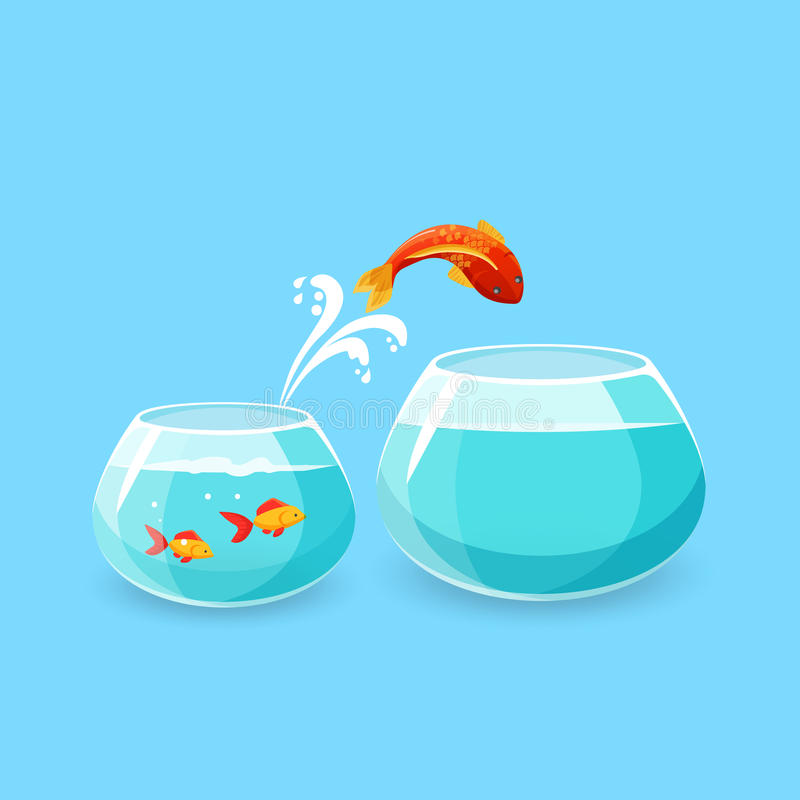 Ambition and Challenge Concept. Goldfish Escape. Ambition and challenge concept. Goldfish jumps into bigger empty aquarium. Desire to make life better. Fish vector illustration