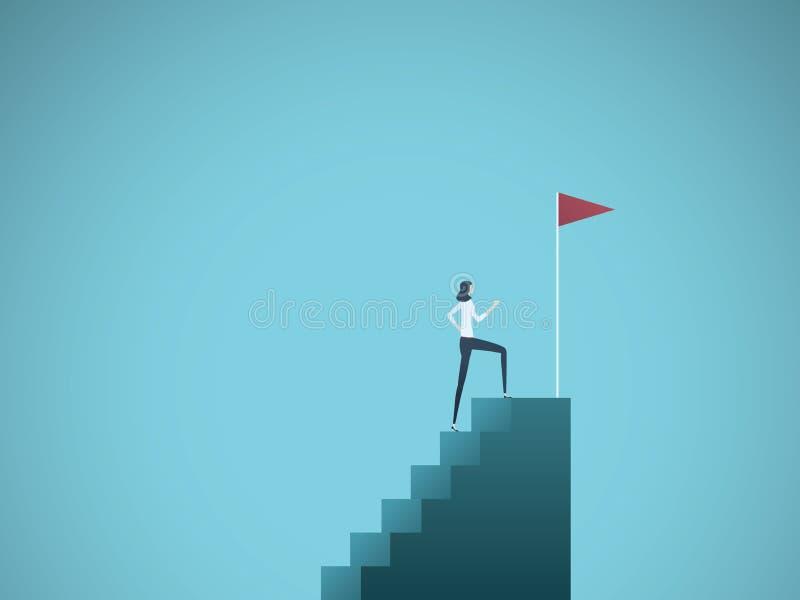 Ambition d'affaires et concept de vecteur de succès Femme ambitieuse et réussie d'affaires s'élevant jusqu'au dessus des étapes S illustration de vecteur