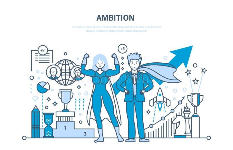 Ambition, framgång i arbete, prestation, ledarskap, kommunikation, kontroll och ledning royaltyfri illustrationer