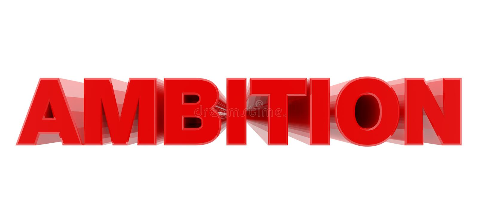 AMBITION red word on white background illustration 3D rendering royalty free illustration