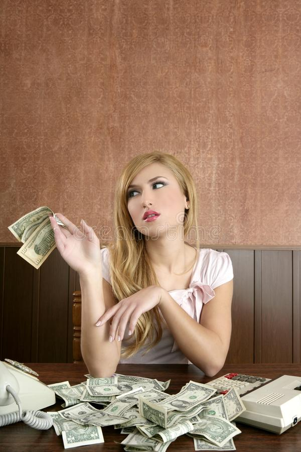 Download Ambition Retro Woman Lots Of Dollar Money Notes Stock Image - Image: 18274973