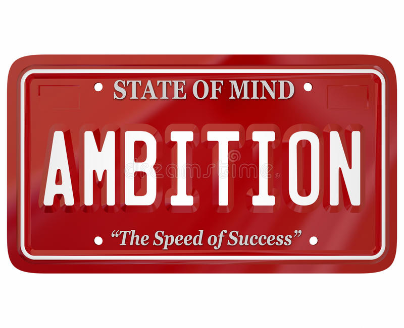 Ambition Word License Plate Attitude Motivation Inspiration. Ambition word on red license plate to illustrate mental attitude, motivation and inspiration to vector illustration