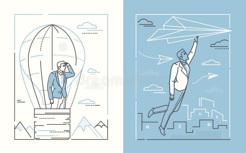 Ambitions - ensemble de ligne illustrations de style de conception illustration de vecteur