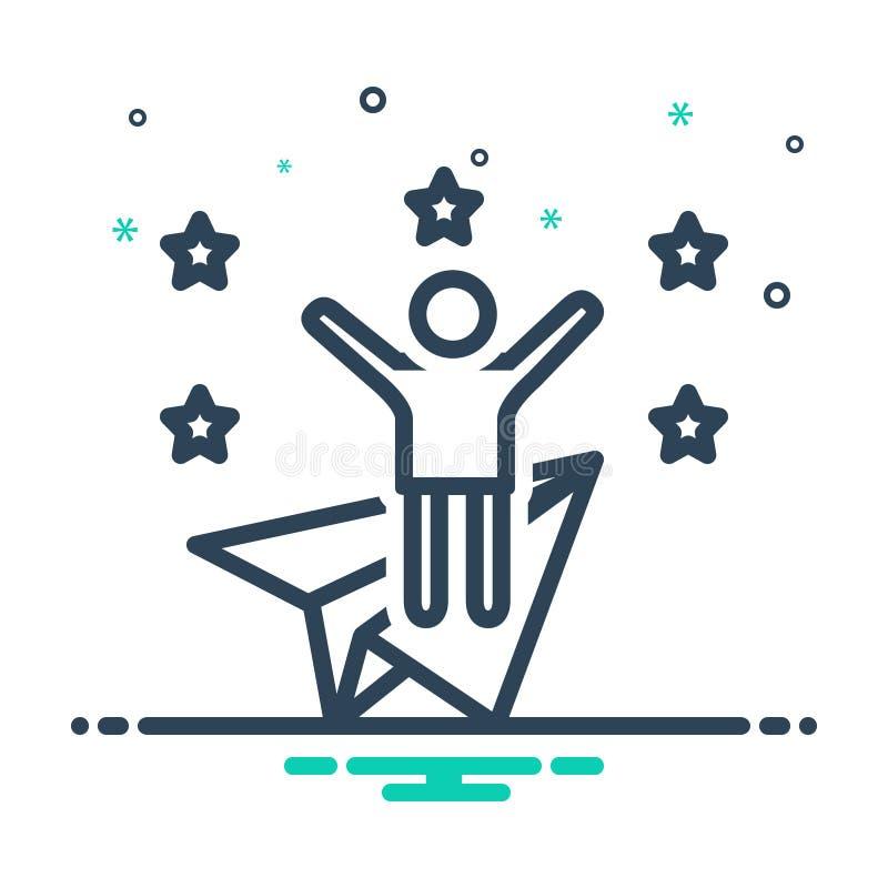 Black mix icon for Ambitious, joyful and wishful. Black mix icon for Ambitious, appetent, happy, personality, logo,  joyful and wishful vector illustration