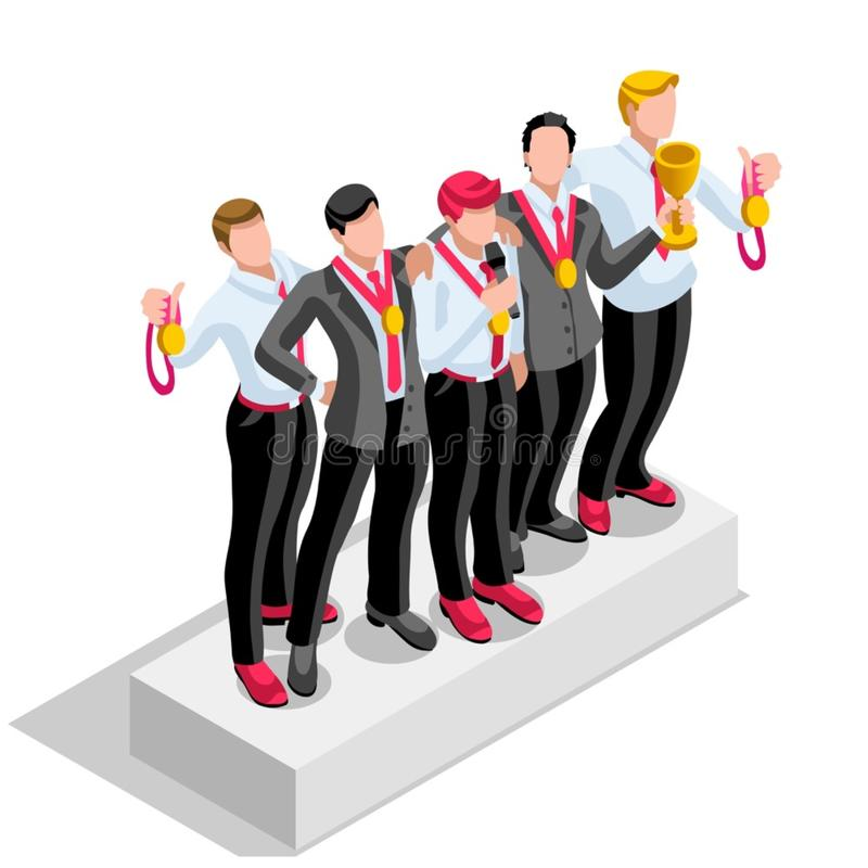 Ambitious business change 16 Career Ambitions vector concept. Business concept infographic vector design. Businessperson 3D character flat ambitious man. Career royalty free illustration